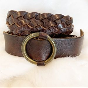 J. Crew belt vintage leather braided brown